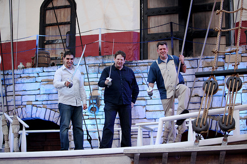 Justin Levy, Chris Brogan and Colin Browning onboard The Song